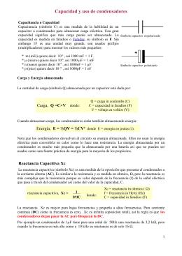 Capacidad y uso de condensadores