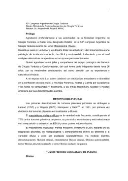 Mesotelioma Pleural - Sociedad Argentina de Cirugía Torácica