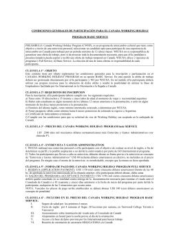 condiciones generales de participación para el canada
