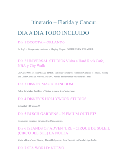 Itinerario – Florida y Cancun DIA A DIA TODO INCLUIDO