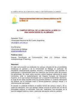 EL CAMPUS VIRTUAL DE LA UMA HACIA LA WEB 2.0: UNA