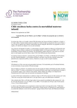 Chile encabeza lucha contra la mortalidad materno