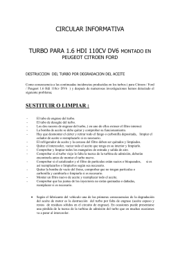 informe turbo 1.6 hdi 110cv dv6 peugeot citroen - turbo