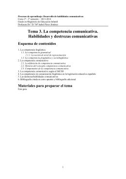 Tema 3. La competencia comunicativa. Habilidades y destrezas