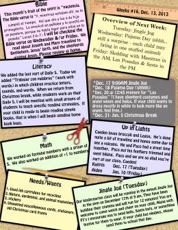 Newsletter 16, Dec. 13, 2013