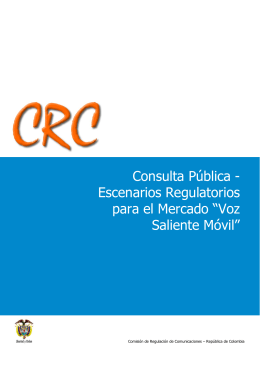 """Escenarios Regulatorios para el Mercado """"Voz Saliente Móvil"""""""