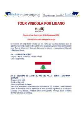 TOUR VINICOLA POR LIBANO 2016