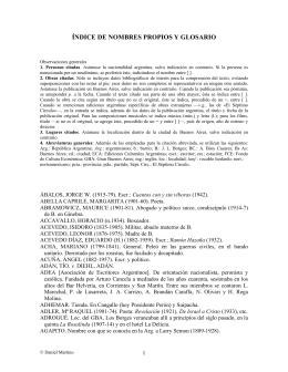 Glosario - Adolfo Bioy Casares / Borges
