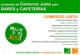 productos de Comercio Justo para BARES y CAFETERÍAS