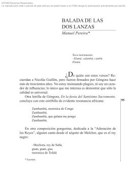 BALADA DE LAS DOS LANZAS Manuel Pereira