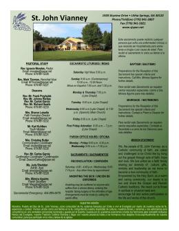 Current Bulletin - St. John Vianney Catholic Church