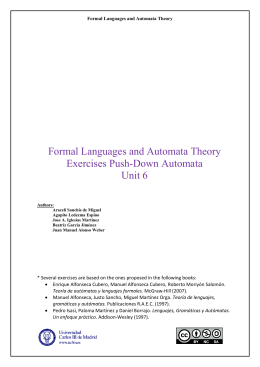 Formal Languages and Automata Theory Exercises Push