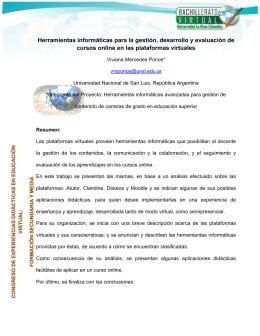 Herramientas informáticas para la gestión, desarrollo y evaluación
