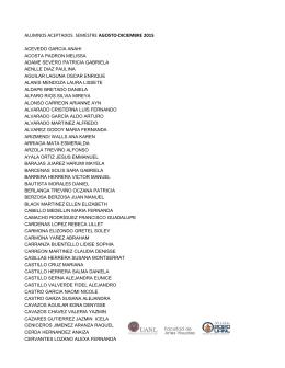 alumnos aceptados semestre agosto-diciembre 2015