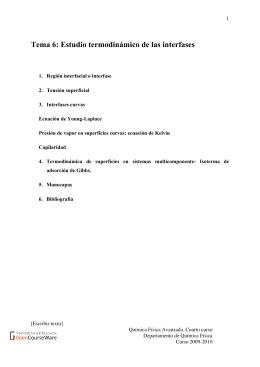 Tema 6: Estudio termodinámico de las interfases - OCW-UV