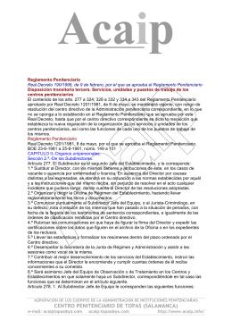 Reglamento Penitenciario 1201/81. Funciones vigentes.