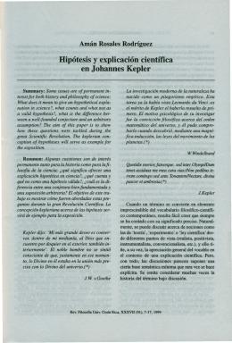 Hipótesis y explicación científica en Johannes Kepler 7