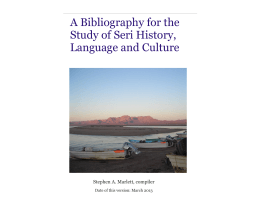 A Bibliography for the Study of Seri History