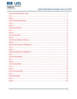 Boletín Bibliográfico Santiago, febrero de 2012
