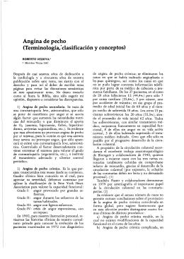Angina de pecho (Terminologia,*clasificacion y conceptos)