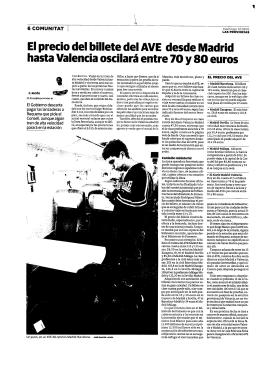 El precio del billete del AVE desde Madrid hasta Valencia oscilará