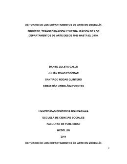obituario de los departamentos de arte en medellín.