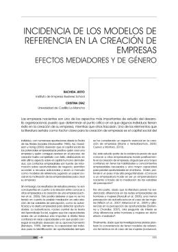 incidencia de los modelos de referencia en la creación de empresas.