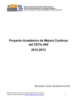 Proyecto Académico de Mejora Continua del CETis 084 2012-2013