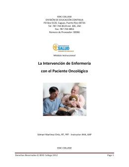La Intervención de Enfermería con el Paciente Oncológico