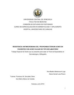 Resistencia antimicrobiana del propionibacterium