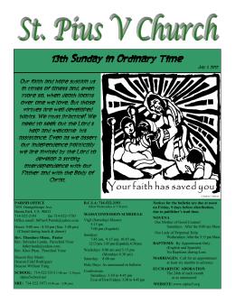 13th Sunday in Ordinary Time - St. Pius V Catholic Community