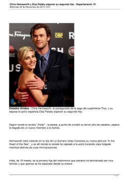 Chris Hemsworth y Elsa Pataky esperan su