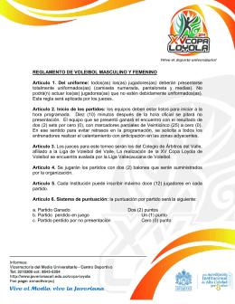 REGLAMENTO DE VOLEIBOL MASCULINO Y FEMENINO Artículo
