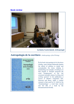 Antropología de la escritura (Anthropology of the Writing)