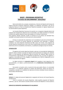 """BASES - PROGRAMA DEPORTIVO """"ESCUELA DE BALONMANO"""