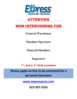 General Warehouse Machine Operators Material Handlers Inspectors