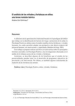 El análisis de las virtudes y fortalezas en niños: una breve revisión
