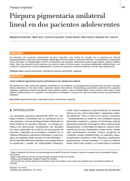 Púrpura pigmentaria unilateral lineal en dos pacientes adolescentes