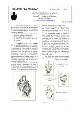"""BOLETÍN """"LA CULONA"""" - Museo de Alfarería de Agost"""