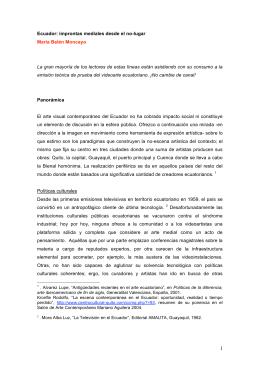 improntas mediales desde el no-lugar María Belén Moncayo La