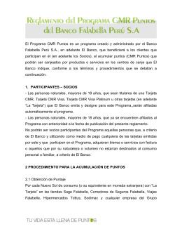 Reglamento del Programa CMR Puntos del Banco Falabella Perú S