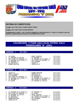 "calendario 1ª fase liga local fútbol sala prebenjamin ""b"""