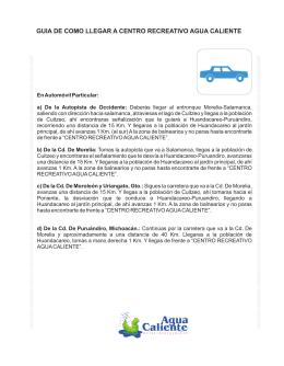 Guía de Viaje - Centro Recreativo Agua Caliente