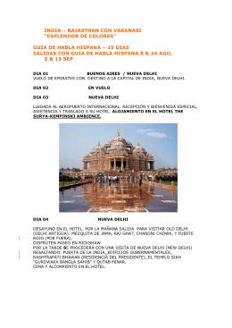 "INDIA – RAJASTHAN CON VARANASI ""ESPLENDOR"