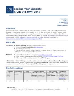 Second Year Spanish I SPAN 211-MWF 2015