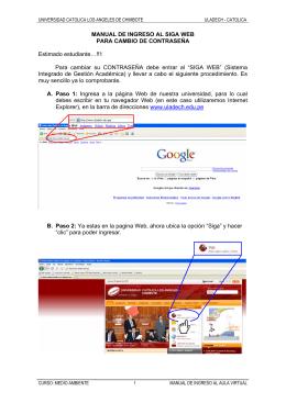 MANUAL DE INGRESO AL SIGA WEB PARA CAMBIO DE
