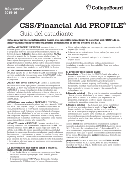 CSS/Financial Aid PROFILE