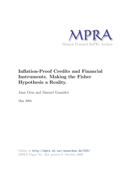Inflation-Proof Credits and Financial Instruments. Making the Fisher