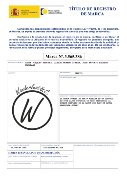 TÍTULO DE REGISTRO DE MARCA Marca Nº. 3.565.386