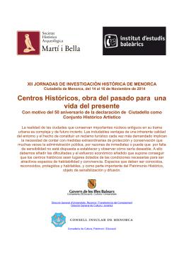 Programa de las XII Jornadas de Investigación histórica de Menorca